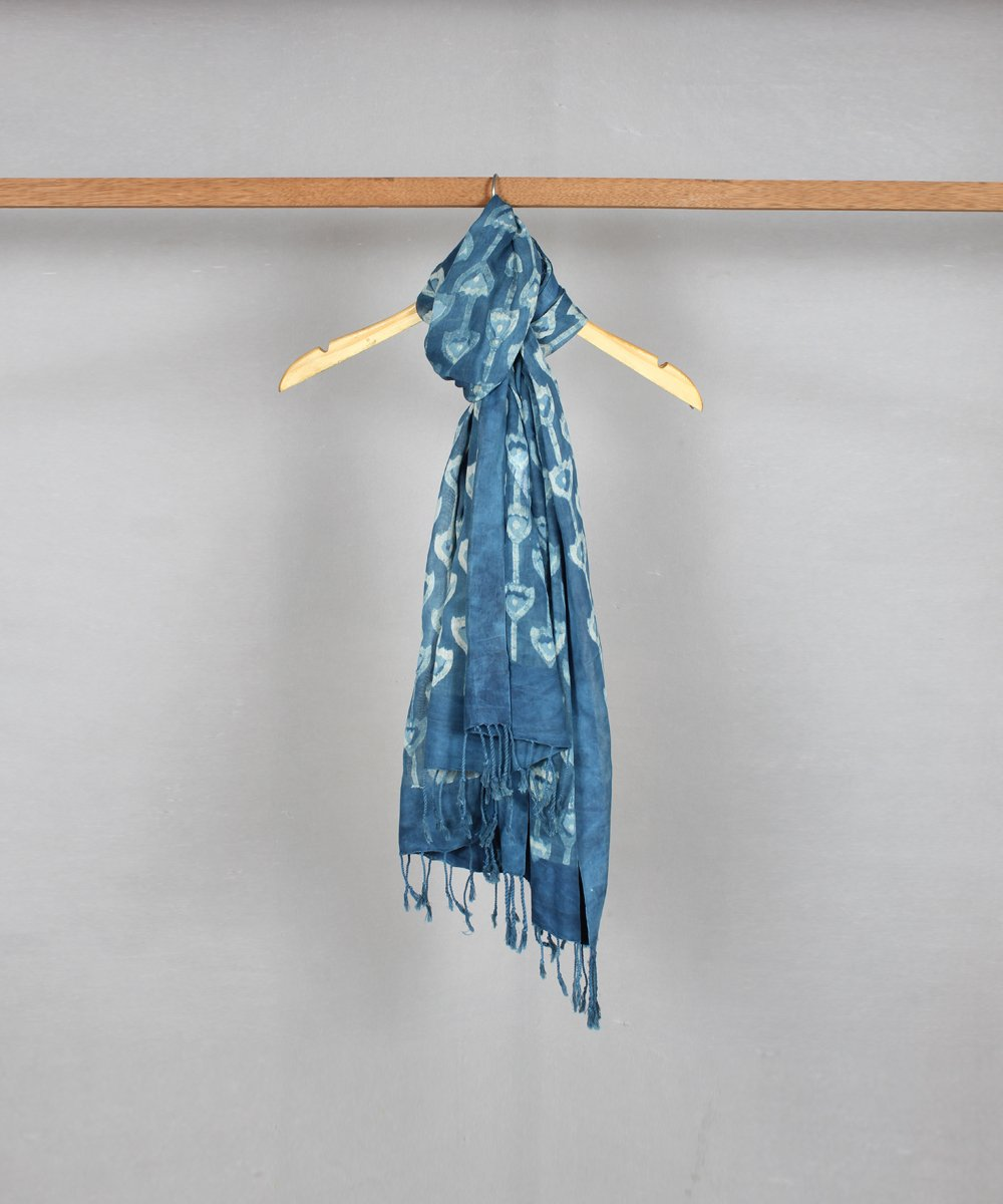 Blue Handblock Printed Cotton Stole