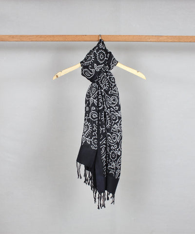 Handblock Print Cotton Stole in Black
