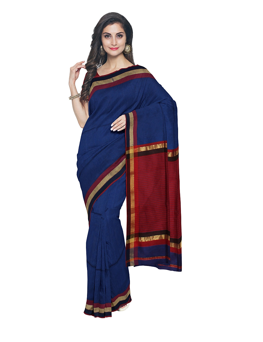 Royal Blue Maheshwari Handwoven Sico Saree