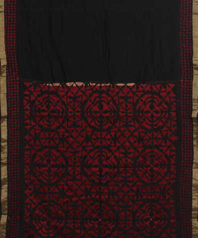 Applique Work Black Chanderi Sico Saree