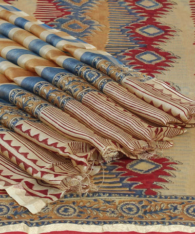 Striped Beige Hand Print Chanderi Sico Saree