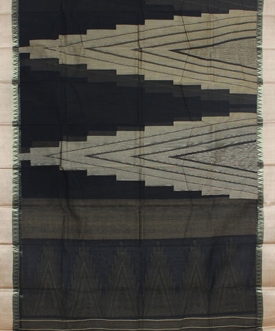 Bengal Black Tant Cotton Handwoven Saree