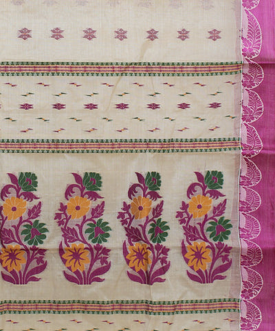 Bengal Cream Pink Handwoven Saree