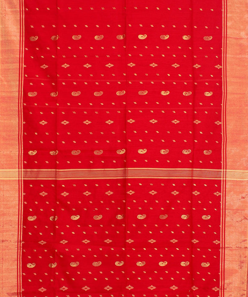 Bengal Red Handwoven Tant Cotton Saree