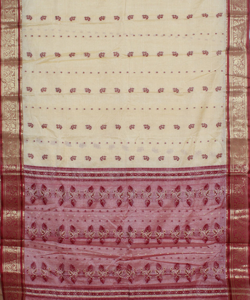 Bengal Cream Red Handwoven Tant Saree