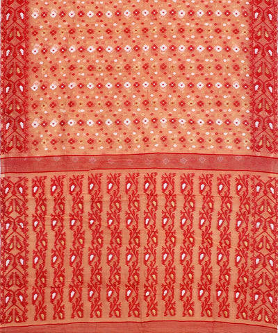 Bengal Red Brown Handwoven Tant Cotton Saree