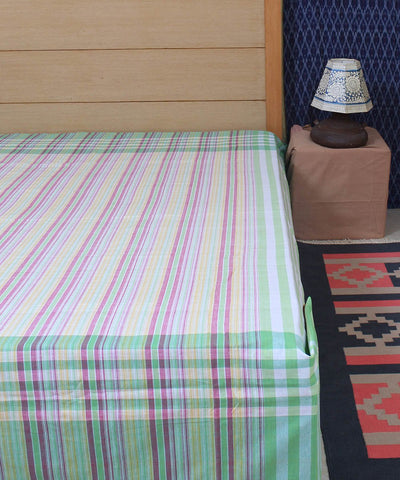 Multi colour striped cotton handloom double bed cover