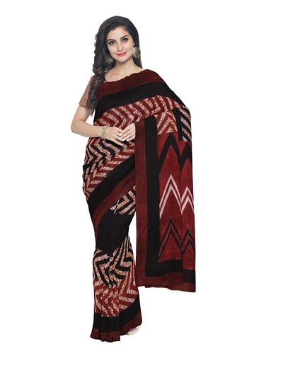 Bagh Print Maroon and Black Cotton Saree