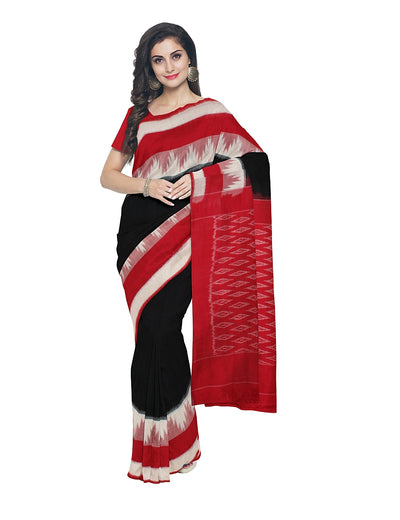 Black Red Pochampally Handwoven Cotton Saree