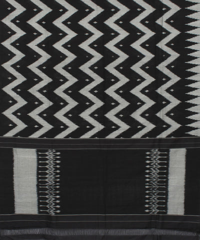 Pochampally Black Wave Stripe Handloom Saree