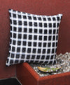 Black Checks Handwoven Ikat Cushion Cover