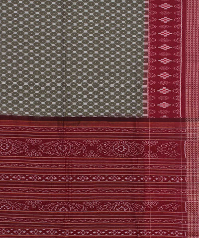 Khaki Red Sambalpuri Handwoven Cotton Saree