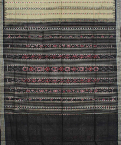 Cream Black Sambalpuri Handloom Cotton Saree