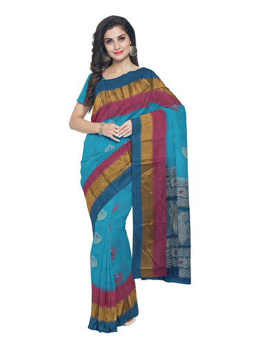 Handwoven Blue and Pink Kerala Cotton Saree