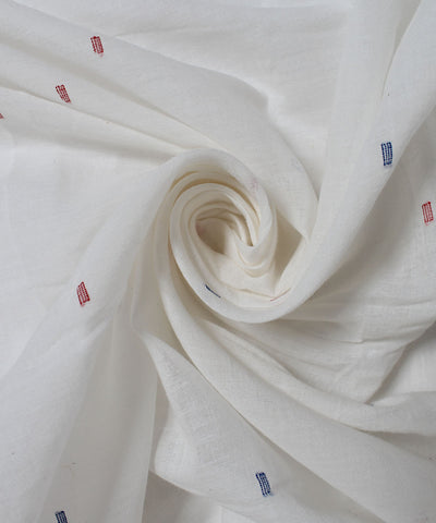 White Jamdani Cotton Handwoven Fabric