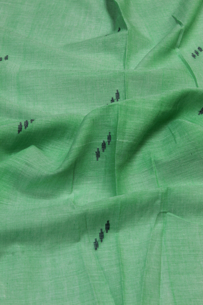 Light green handloom muslin jamdani fabric