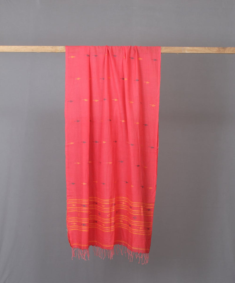 Yellow traditional motif in pink stole