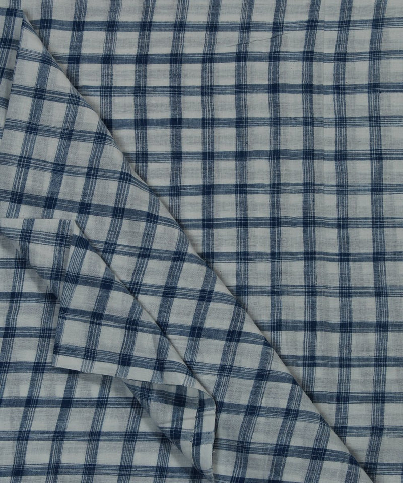 blue white checks handloom cotton fabric