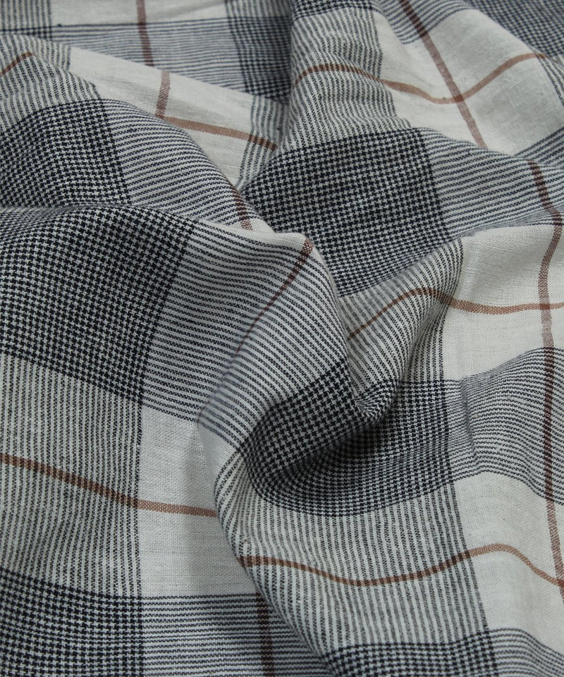 grey white checks handloom cotton fabric