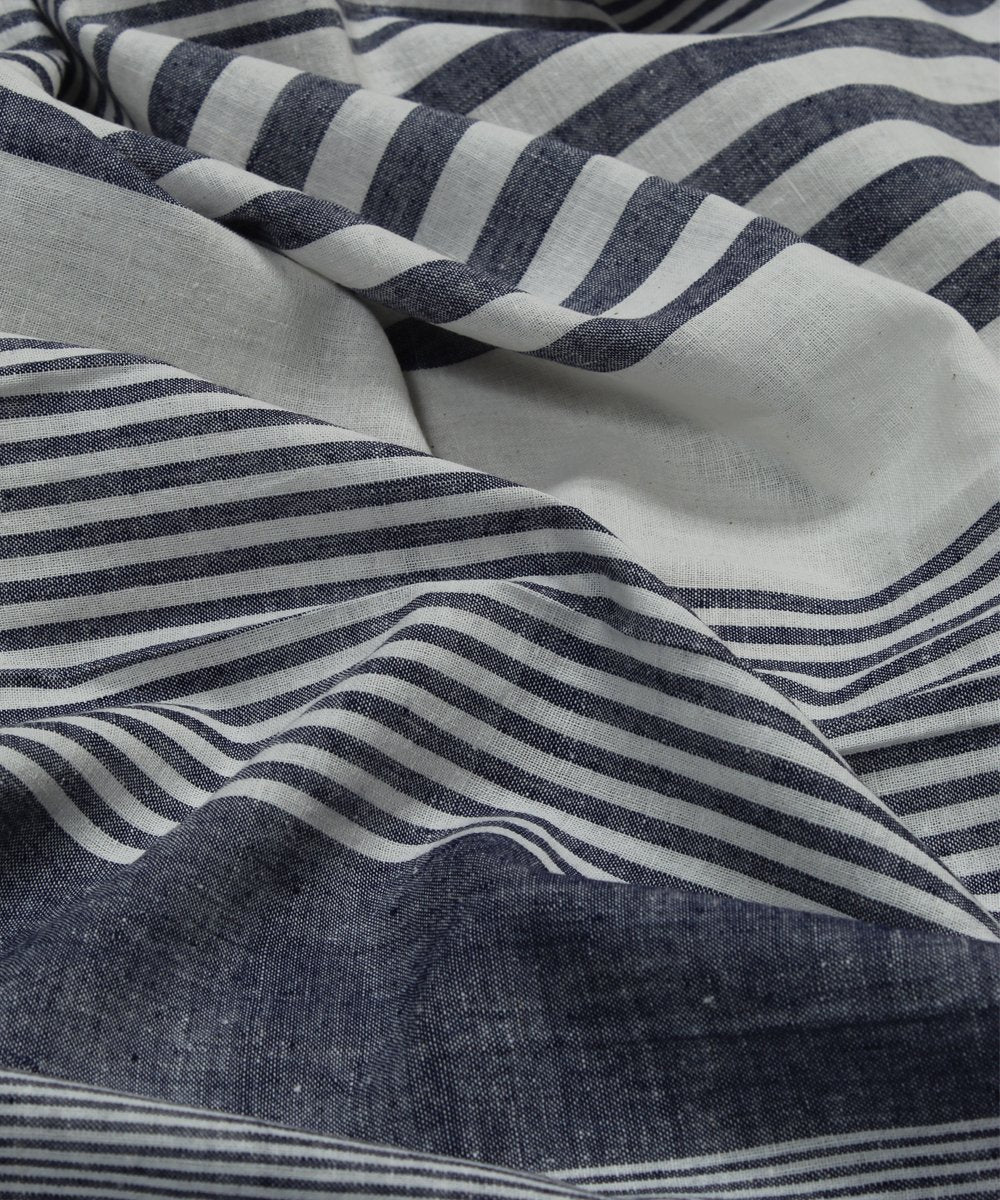 grey white blue stripe handloom cotton fabric