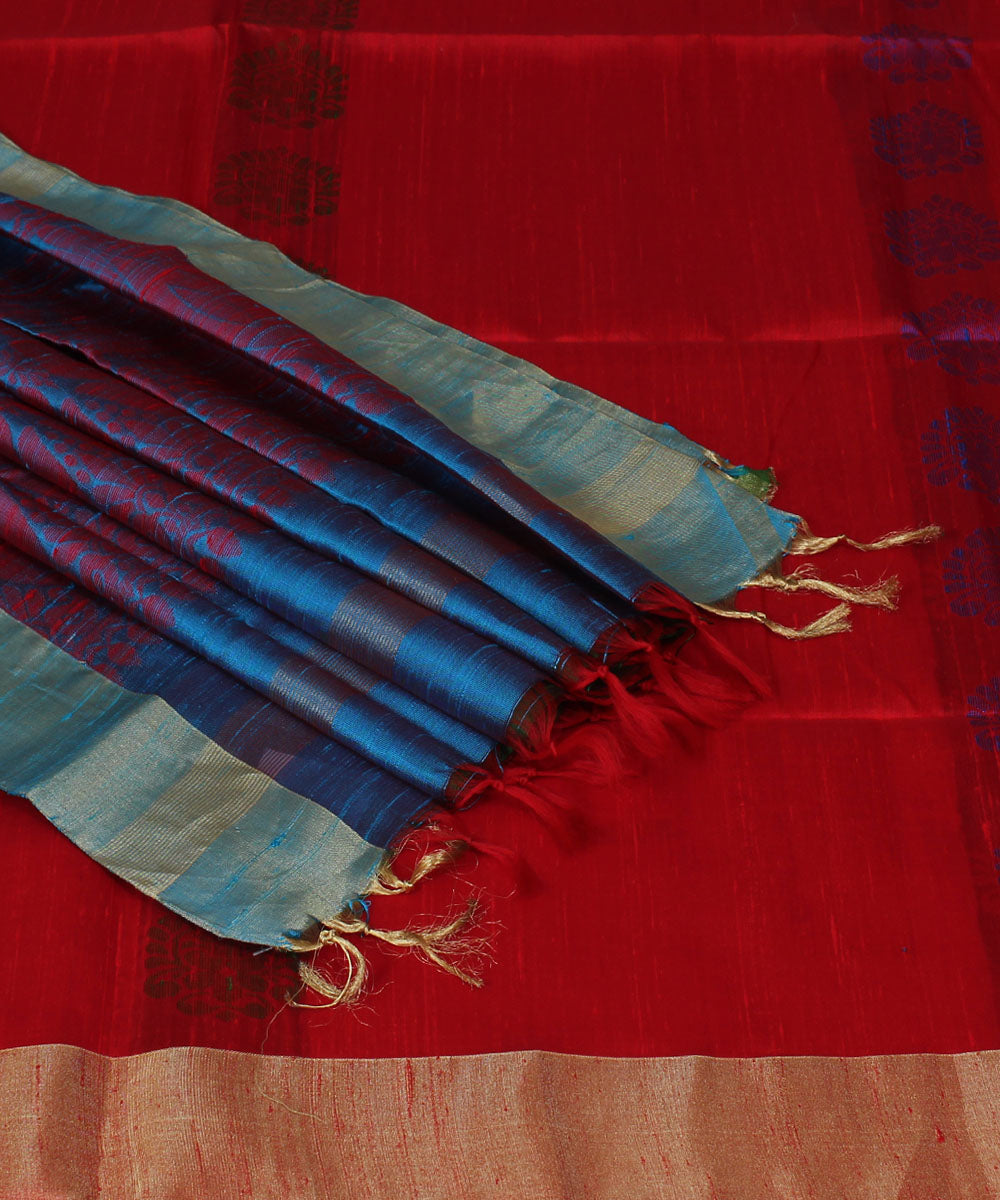 Red and Blue Handwoven Silk Saree