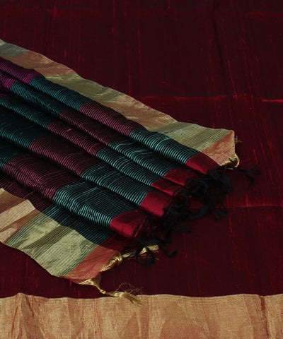 Maroon Handwoven Silk Saree