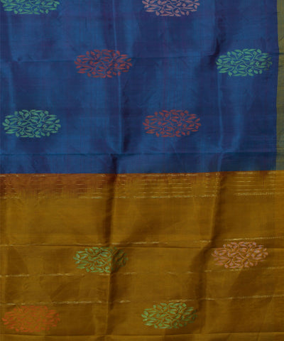 Blue and Mustard Handwoven Silk Saree