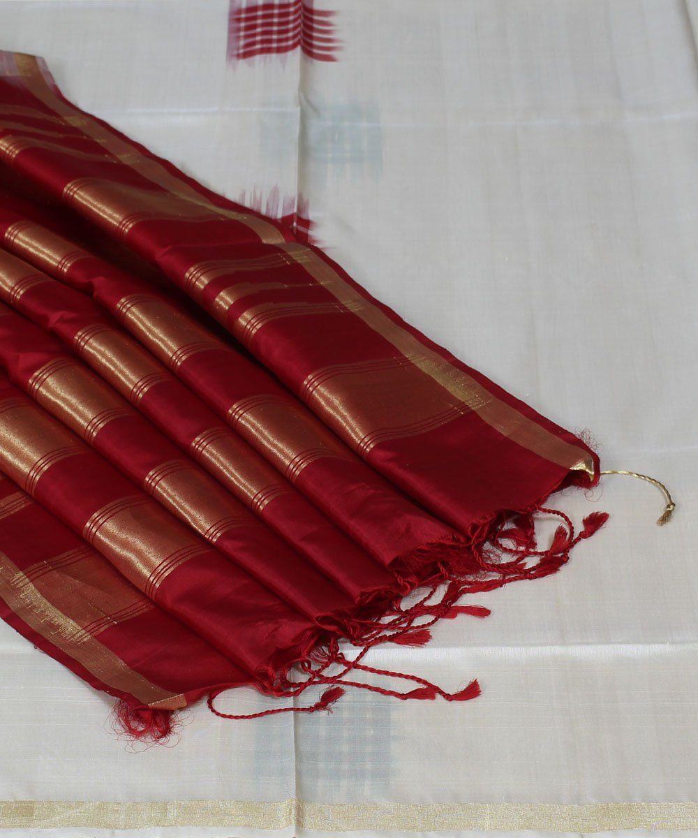 White and Maroon Handwoven Silk Saree