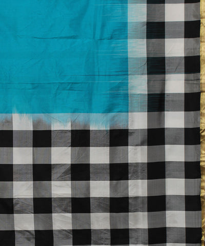 Sky Blue Checks Handwoven Silk Saree