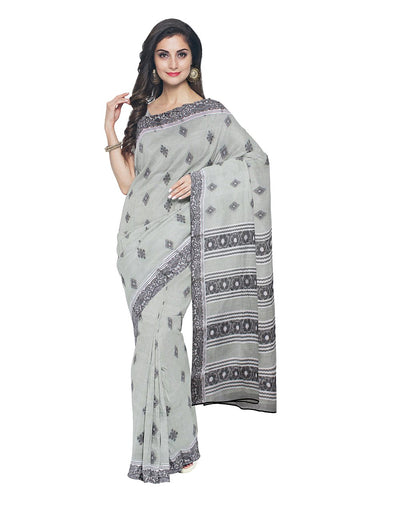Light Green Bengal Handwoven Cotton Saree
