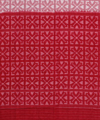 Sambalpuri Handloom Cotton Peach Red Saree