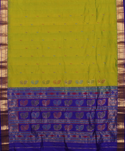 Lime Green and Purple Handwoven Silk Saree