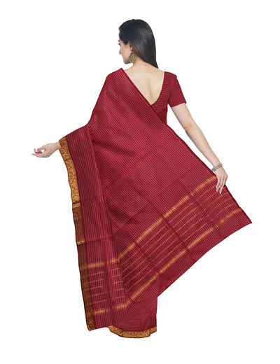 Venkatgiri Pink Stripe Handloom Cotton Saree