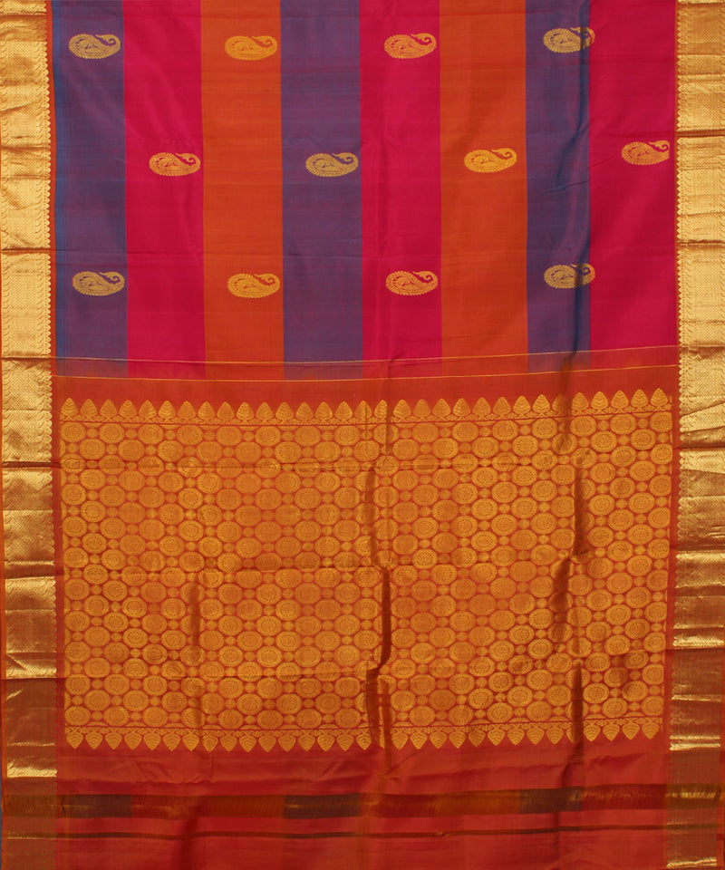 Multicolor Striped Handwoven Silk Saree