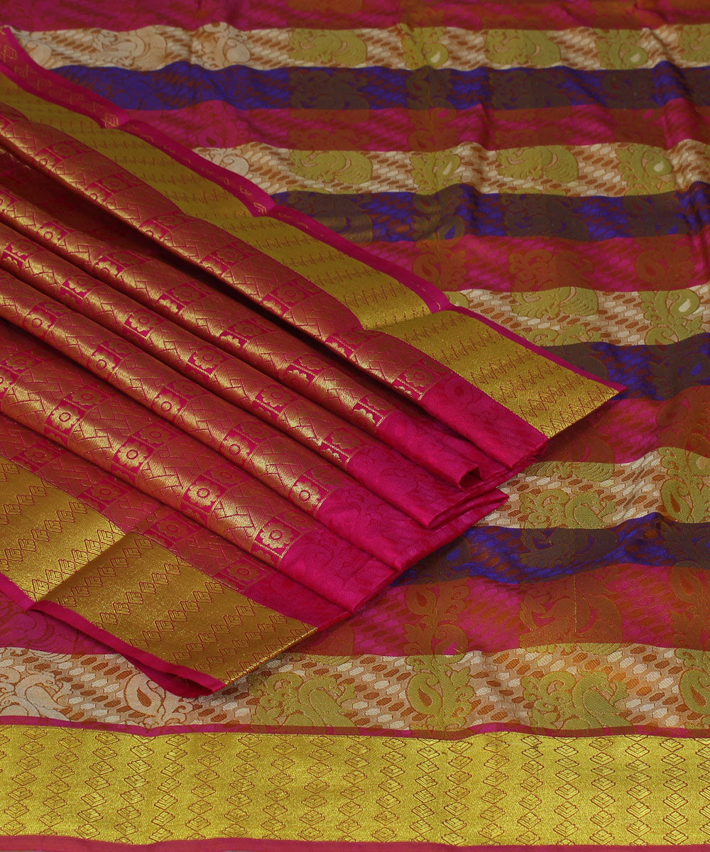 Handwoven Multicolor Striped Silk Saree
