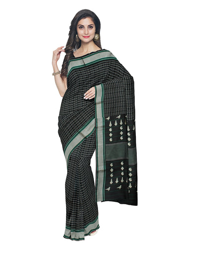 Black Checks Handloom Molkalmuru Silk Saree