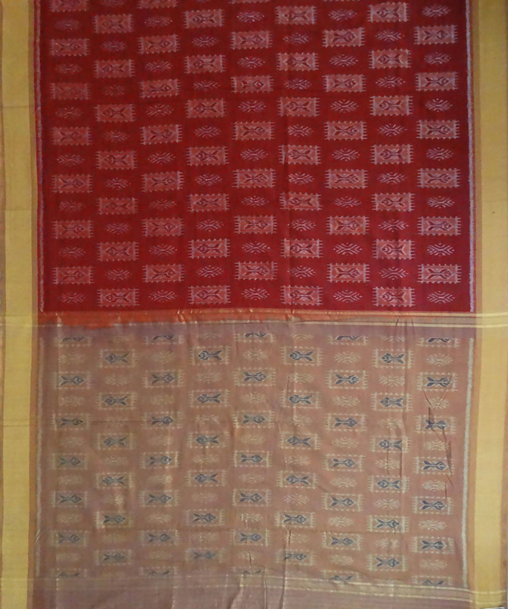 Nuapatna Maroon Handloom cotton Saree