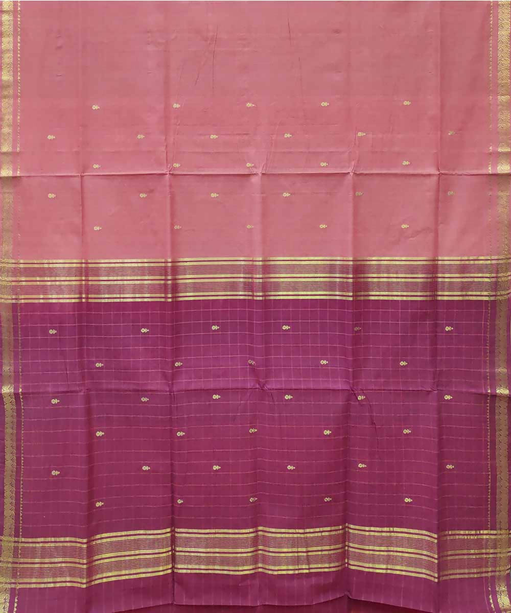 Peach maroon handloom cotton venkatagiri saree