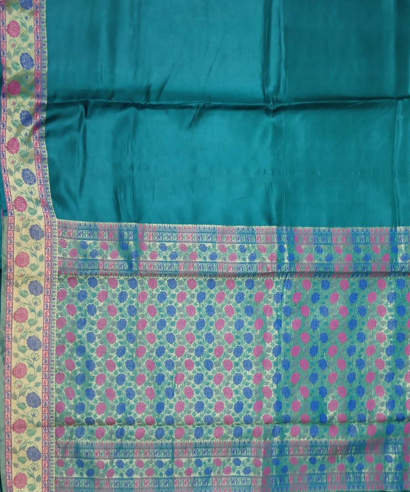 Banarasi Ocean Blue Handwoven Silk Saree