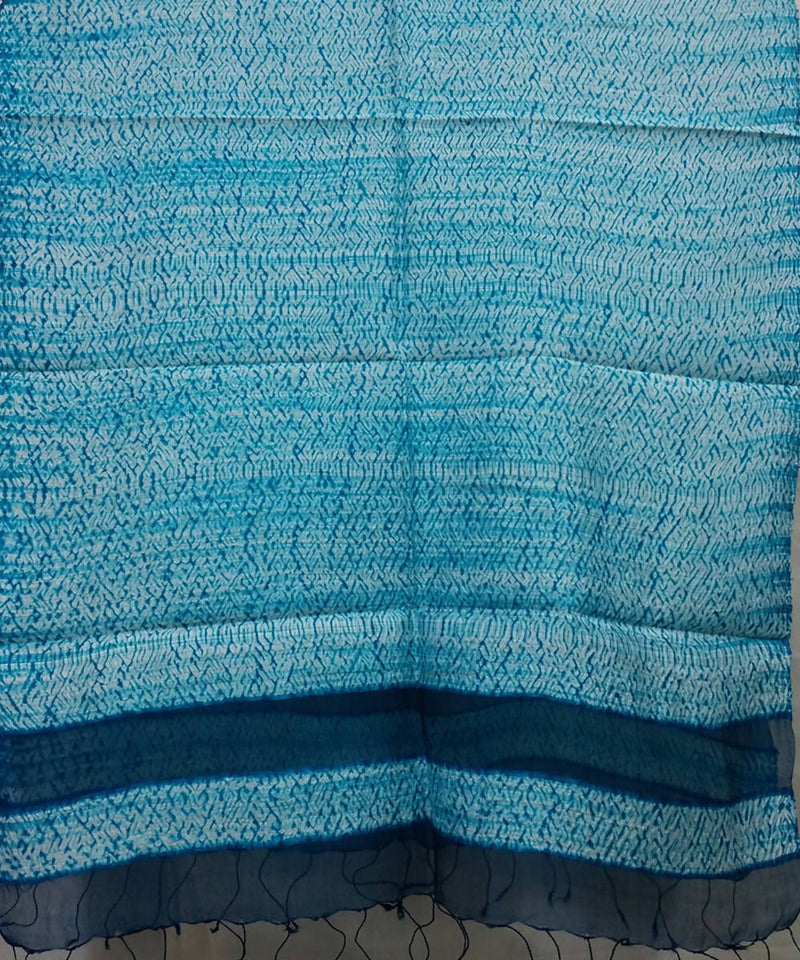 white and blue Shibori hand print Matka silk Stole