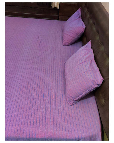 Reddish check handloom king size bedsheet