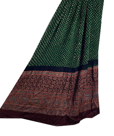 Bottle green and black Modal silk bandhani with ajrakh print dupatta