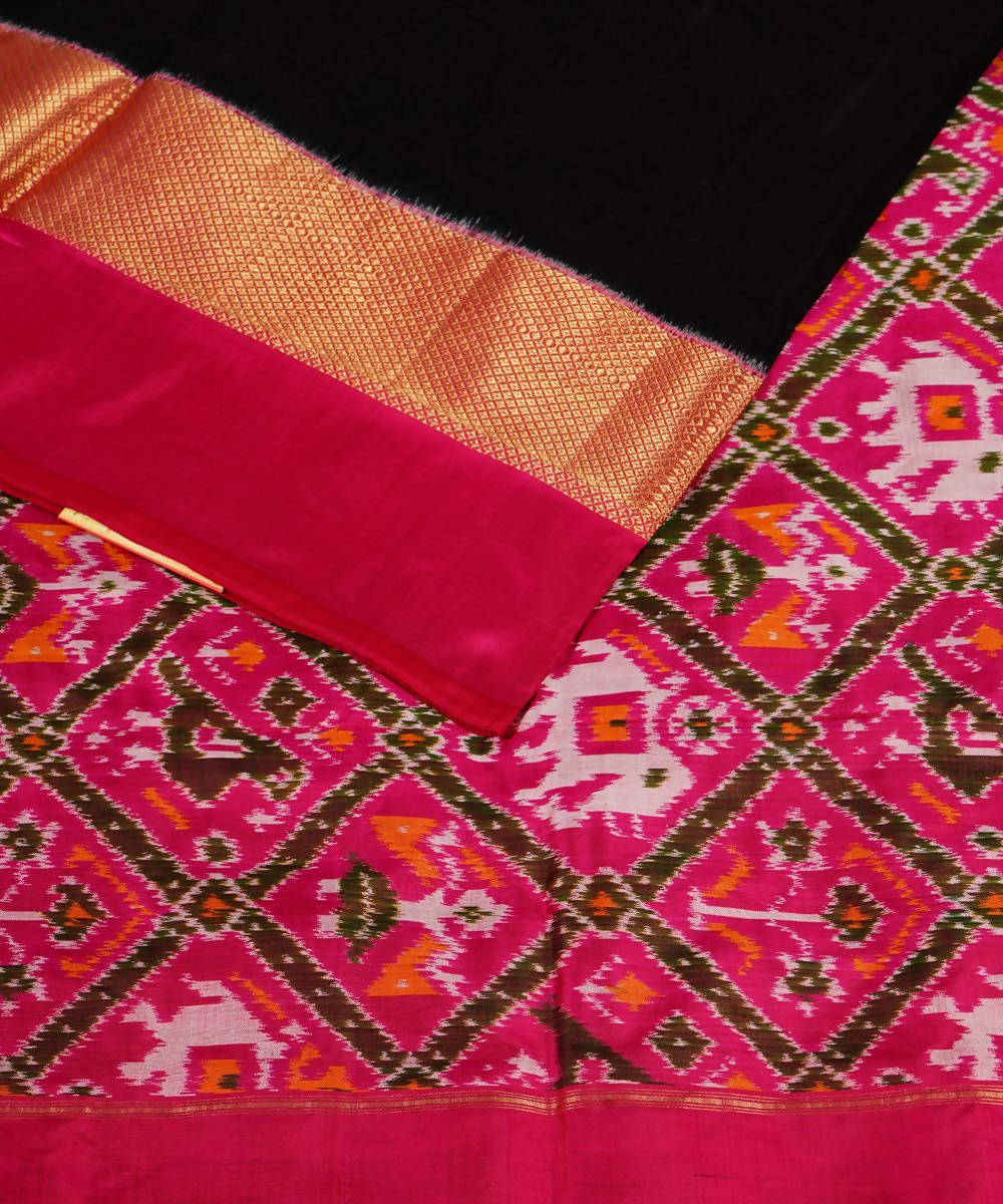Black Pink Handloom Pochampally Silk Saree