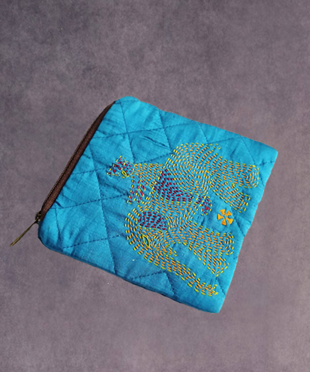 Sky blue hand made kantha stitch silk coin purse