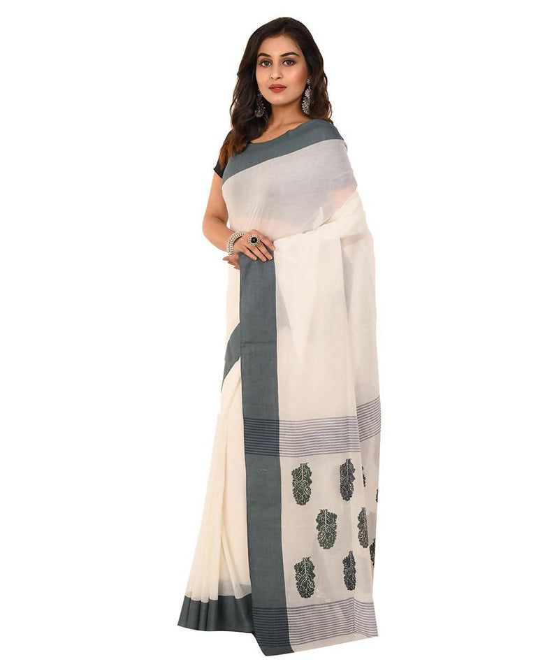 White bengal handwoven tangail cotton saree