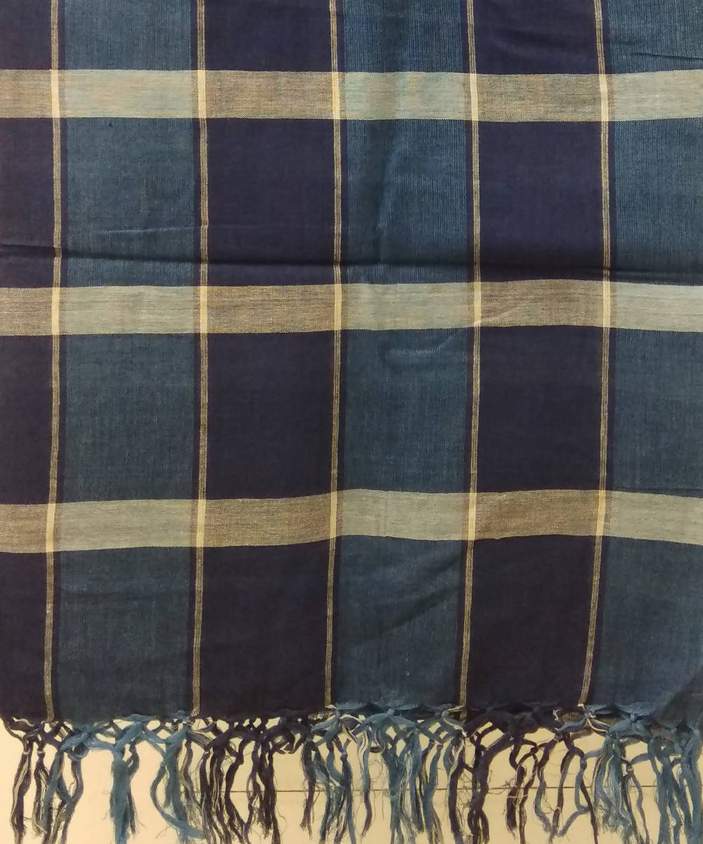 Blue White Handloom Cotton Checks Dupatta