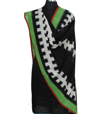 Black Green Handwoven Ikat Cotton Dupatta