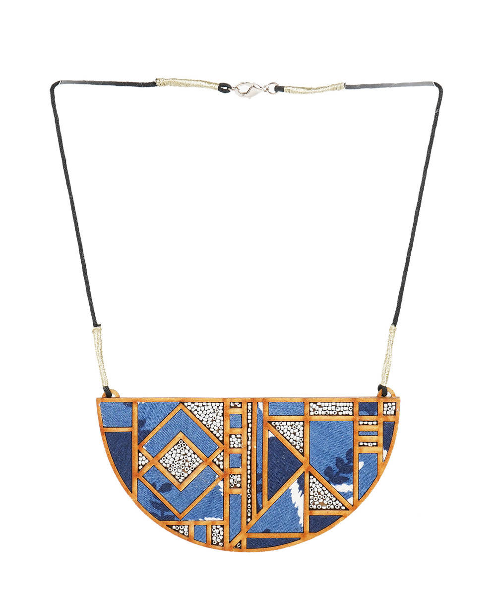 Blue printed fabric and mdf maze necklace