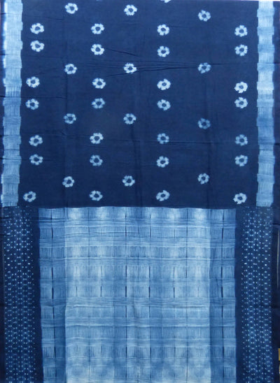 Shibori Print Navy Blue Handloom Cotton Saree
