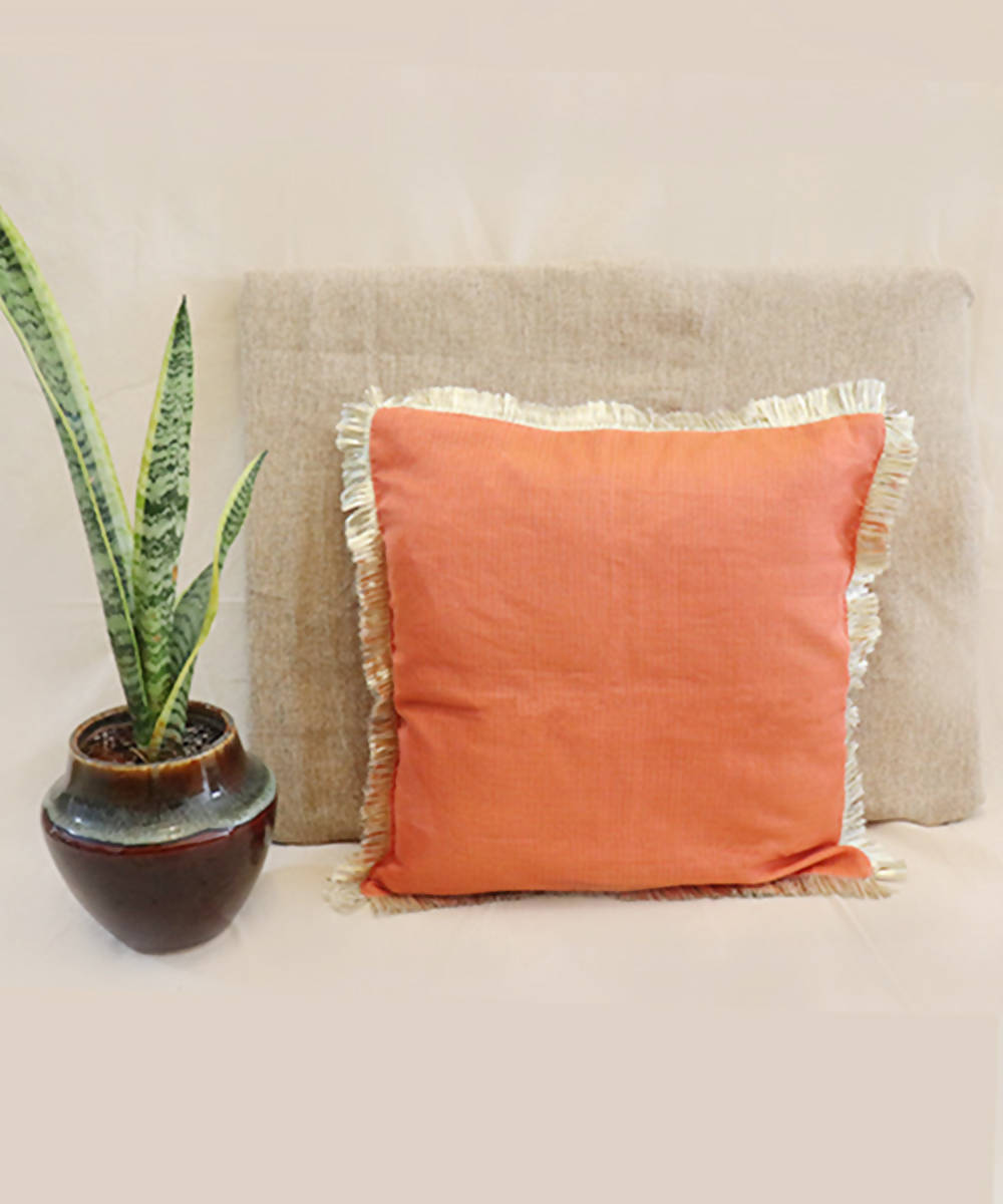 Handmade solid peach kota festive cushion cover